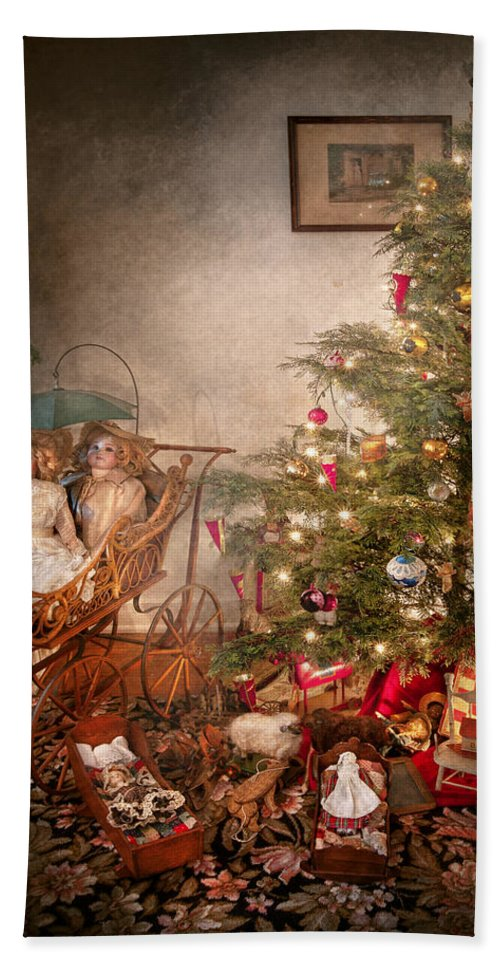 Chistmas Bath Sheet featuring the photograph Christmas - My First Christmas by Mike Savad