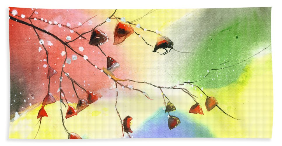 Nature Bath Sheet featuring the painting Christmas 1 by Anil Nene