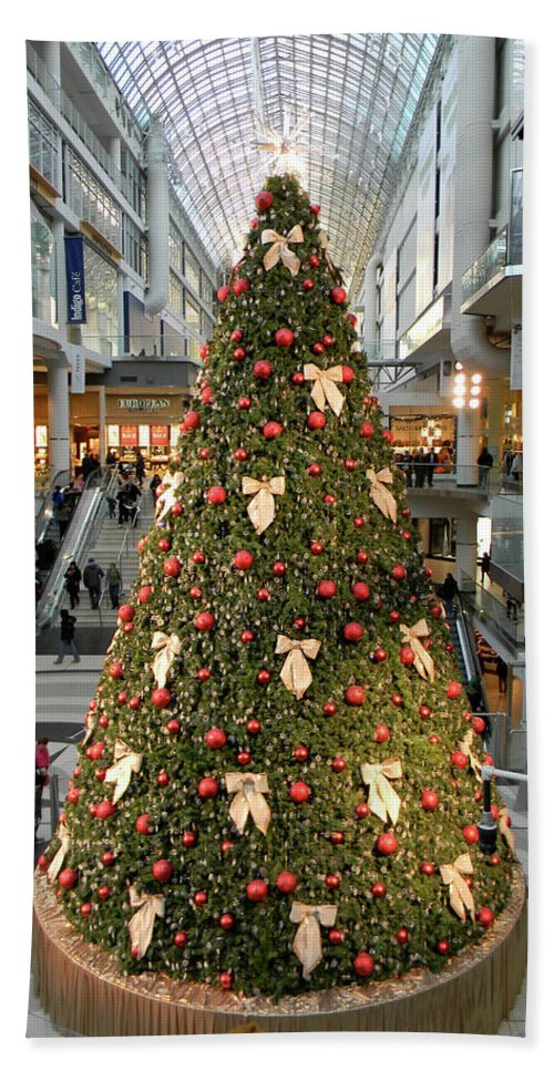 Christmas Bath Sheet featuring the photograph Christmas At The Eaton's Centre by Marwan George Khoury