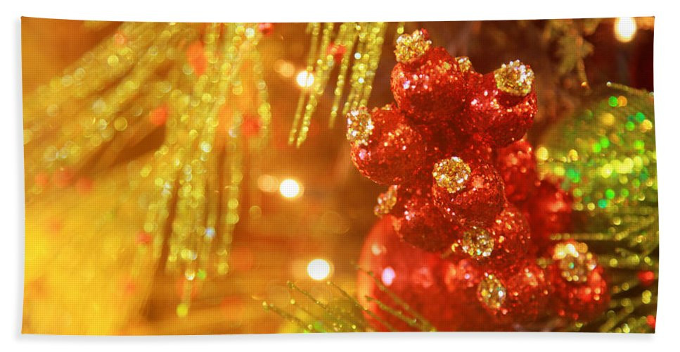Christmas Hand Towel featuring the photograph Christmas Baubles by Toni Hopper