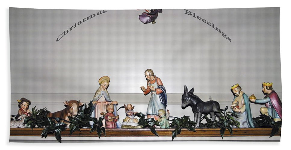 Hummel Nativity Set Bath Sheet featuring the photograph Christmas Blessings Creche by Sally Weigand