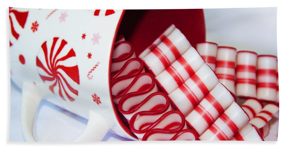 Ribbon Candy Hand Towel featuring the photograph Christmas Cheer by Kathy Clark