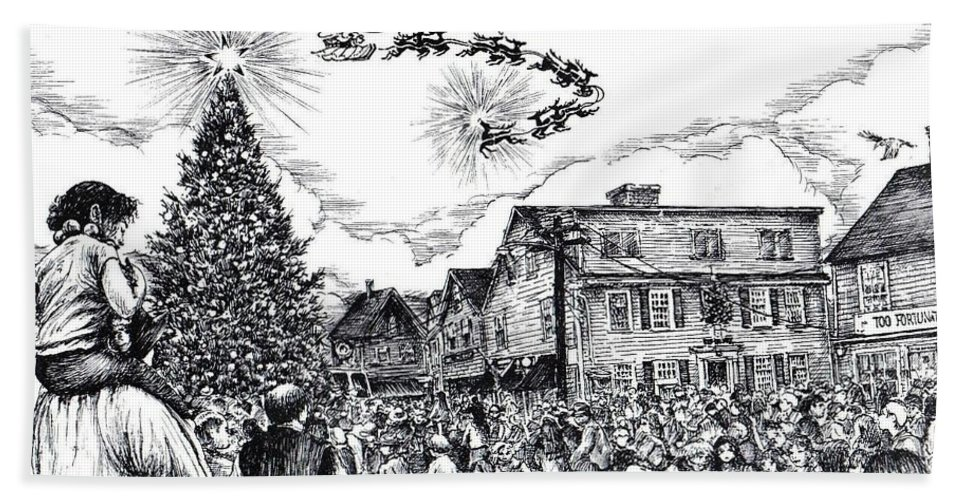 Rockport Bath Sheet featuring the drawing Christmas In Dock Square Rockport by James Oliver