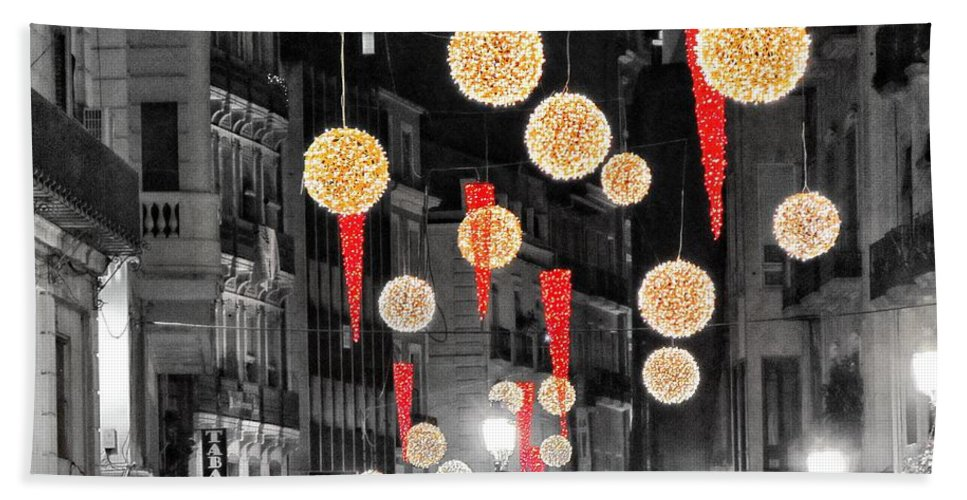Christmas Lights Bath Sheet featuring the photograph Christmas Lights In Alicante by Marianna Mills