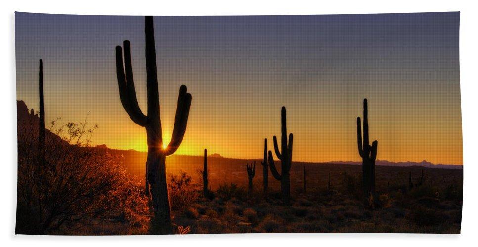 Sunrise Bath Sheet featuring the photograph Christmas Morning In Arizona by Saija Lehtonen