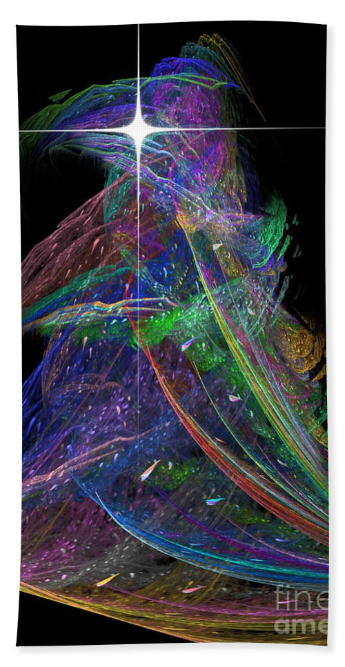 Abstract Hand Towel featuring the digital art Christmas Tree 49b Star by Russell Kightley