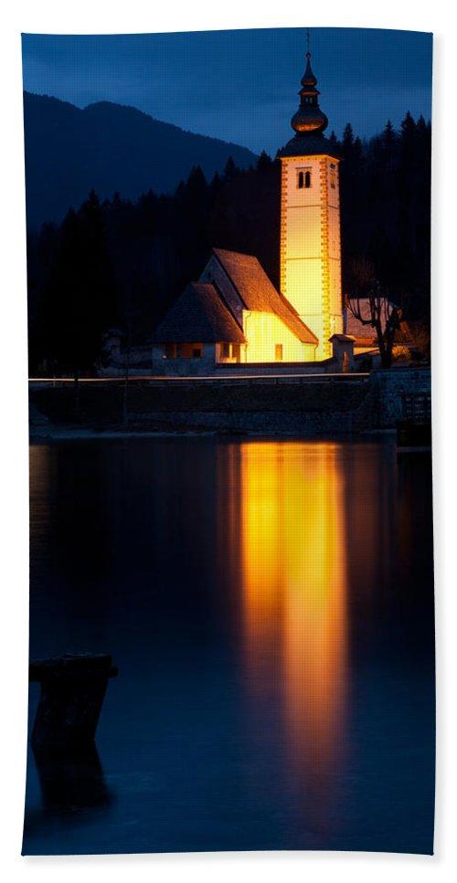 Bohinj Hand Towel featuring the photograph Church At Dusk by Ian Middleton