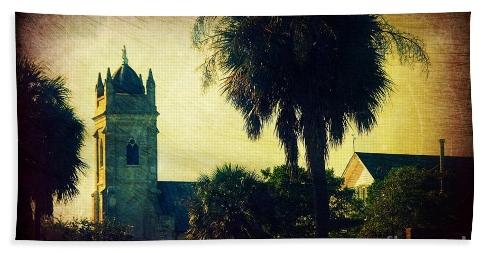 Church Hand Towel featuring the photograph Church At Fort Moultrie Near Charleston Sc by Susanne Van Hulst
