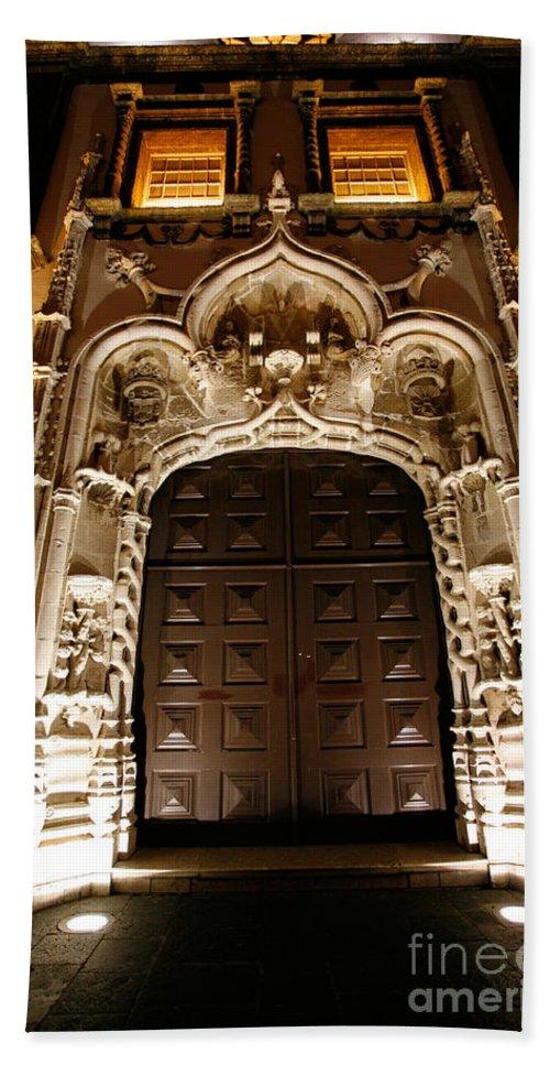 Door Bath Sheet featuring the photograph Church At Night by Gaspar Avila