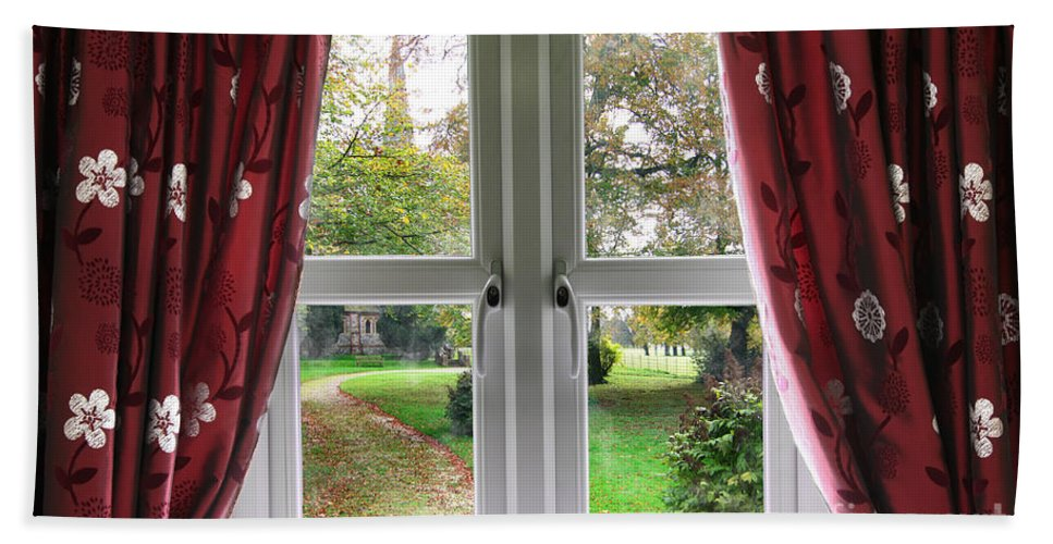 Window Hand Towel featuring the photograph Church Garden View by Simon Bratt Photography LRPS