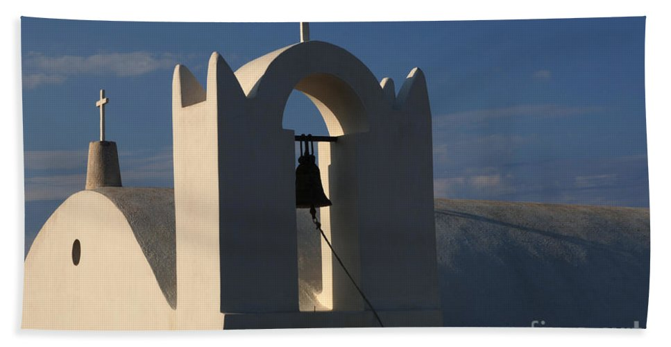 Greece Bath Sheet featuring the photograph Church In Fira On Santorini by Bob Christopher