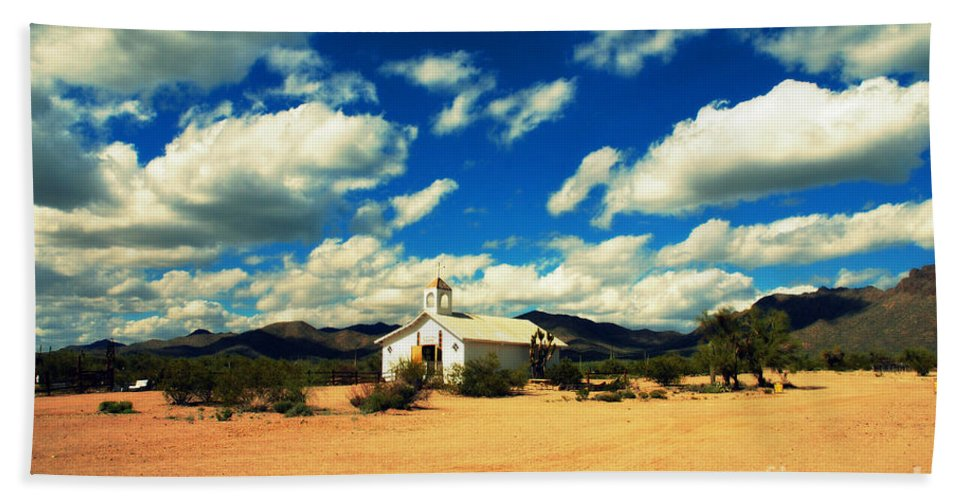 Old Tuscon Bath Sheet featuring the photograph Church In Old Tuscon Arizona by Susanne Van Hulst