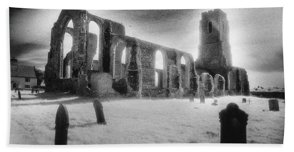 Bell Tower; Ruined; Ruin; Remains; Churchyard; Cemetery; Graveyard; Tombstones; Gravestones; Eerie; Atmospheric; Sinister; Ghostly; Dramatic; Striking; Mysterious; Gothic; Medieval; Architecture; English; Exterior; Landscape Hand Towel featuring the photograph Church Of St Andrew by Simon Marsden