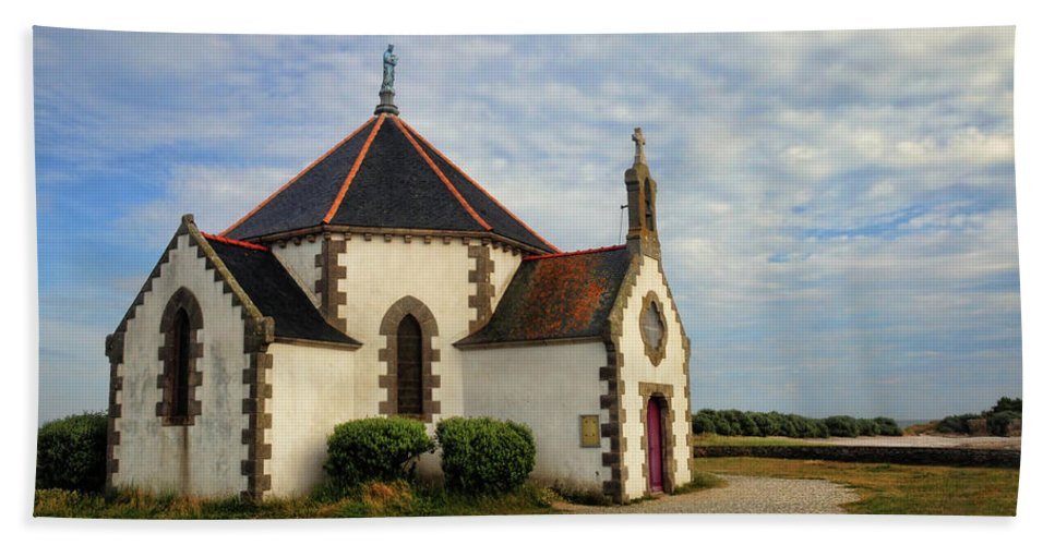 Church Bath Sheet featuring the photograph Church Off The Brittany Coast by Dave Mills