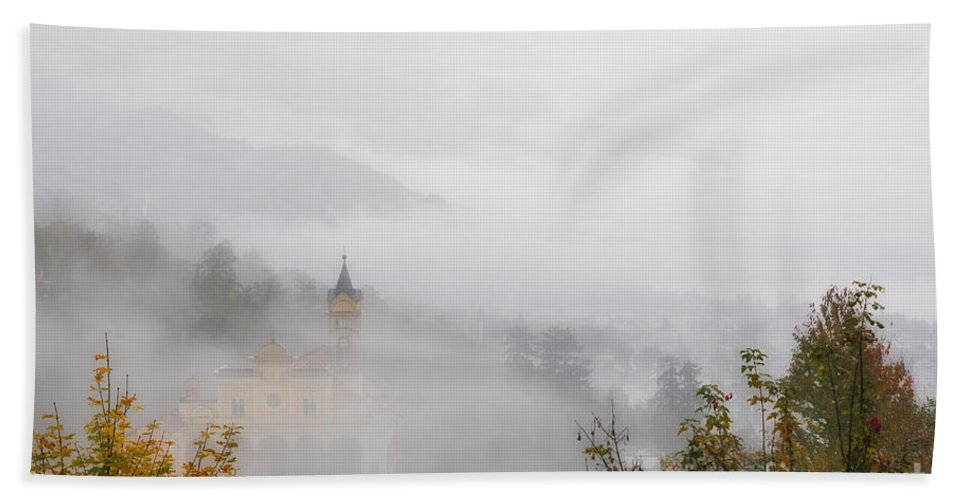 Church Hand Towel featuring the photograph Church With Fog by Mats Silvan