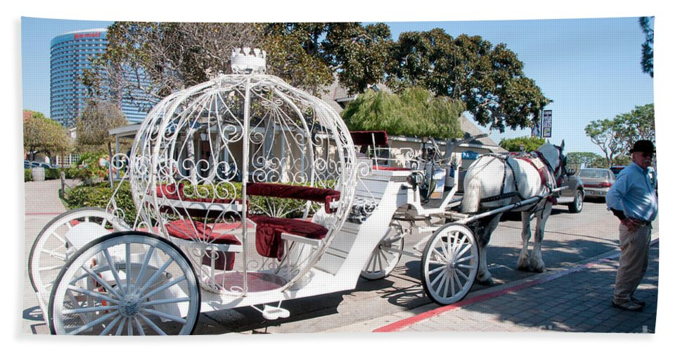California Hand Towel featuring the digital art Cinderella Carriage by Carol Ailles