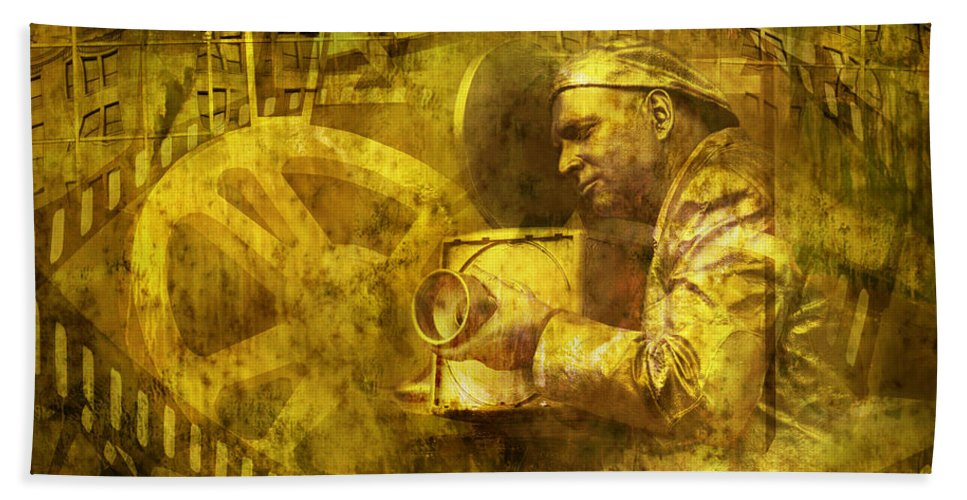 Art Bath Sheet featuring the photograph Cinematographer Mime by Randall Nyhof