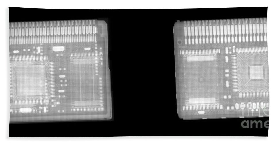 Xray Hand Towel featuring the photograph Circuit Boards by Ted Kinsman