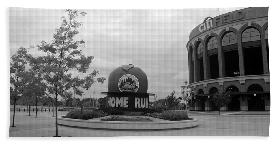 Shea Stadium Bath Sheet featuring the photograph Citi Field In Black And White by Rob Hans