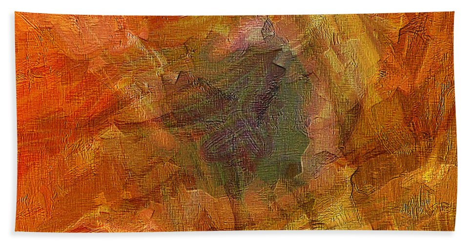 Abstract Art Bath Sheet featuring the painting Citrine by Ely Arsha