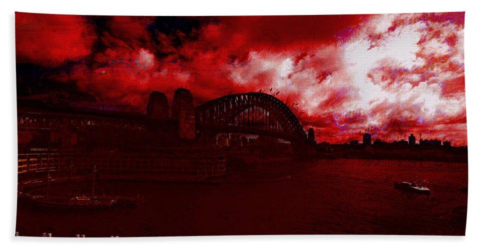 Sydney Harbor Bridge Bath Sheet featuring the photograph City Burning by Douglas Barnard