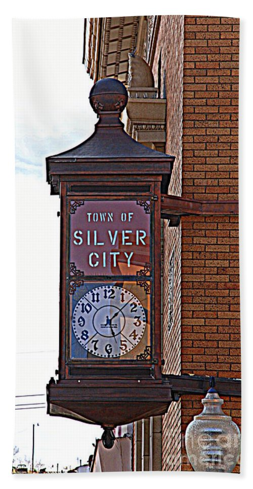 Clock Hand Towel featuring the photograph City Clock In Silver City Nm by Susanne Van Hulst