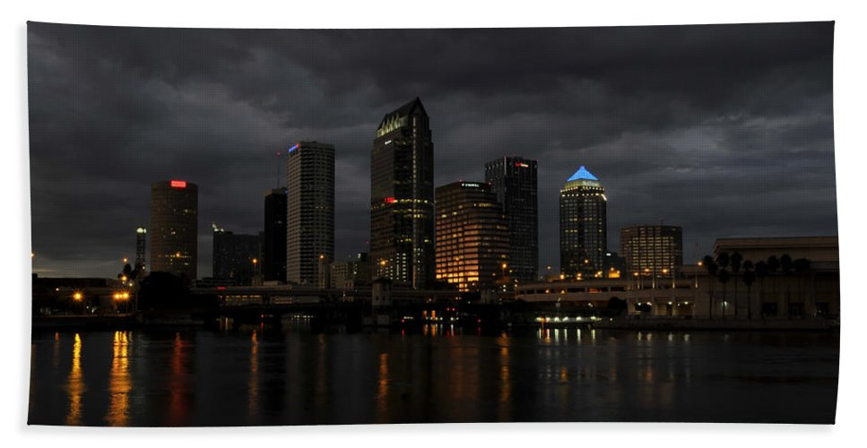 Tampa Bay Florida Hand Towel featuring the photograph City In The Storm by David Lee Thompson
