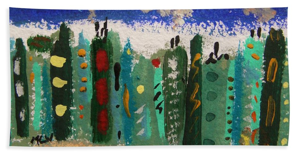 Buildings Hand Towel featuring the painting City Sidestreet by Mary Carol Williams
