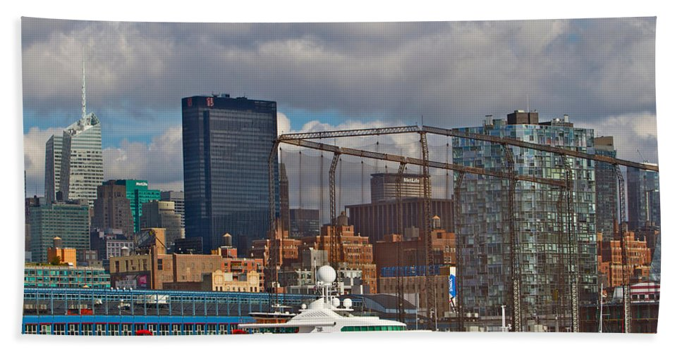 New York City Scenic Water Yacht View Bath Sheet featuring the photograph City View One by Alice Gipson