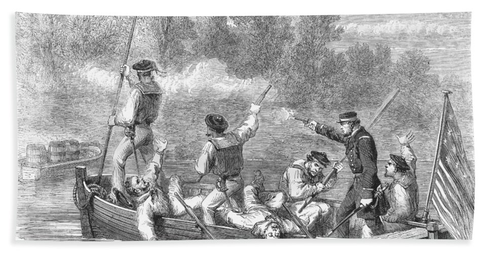 1861 Hand Towel featuring the photograph Civil War: Potomac River by Granger