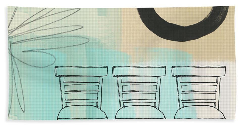 Abstract Hand Towel featuring the painting Clarity by Linda Woods
