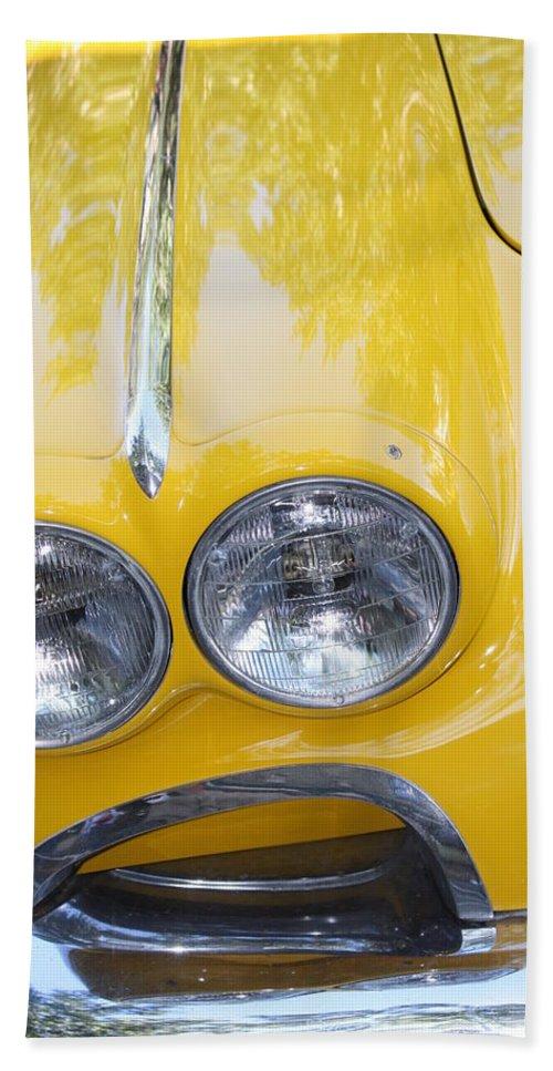 Vintage Bath Sheet featuring the photograph Classic Antique Chevy Corvette - Detail by Dora Sofia Caputo Photographic Design and Fine Art