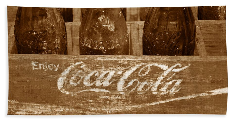 Fine Art Photography Bath Sheet featuring the photograph Classic Coke Work B by David Lee Thompson