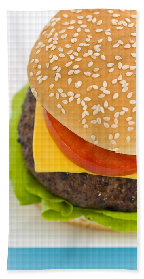 Barbecue Bath Sheet featuring the photograph Classic Hamburger With Cheese Tomato And Salad by U Schade