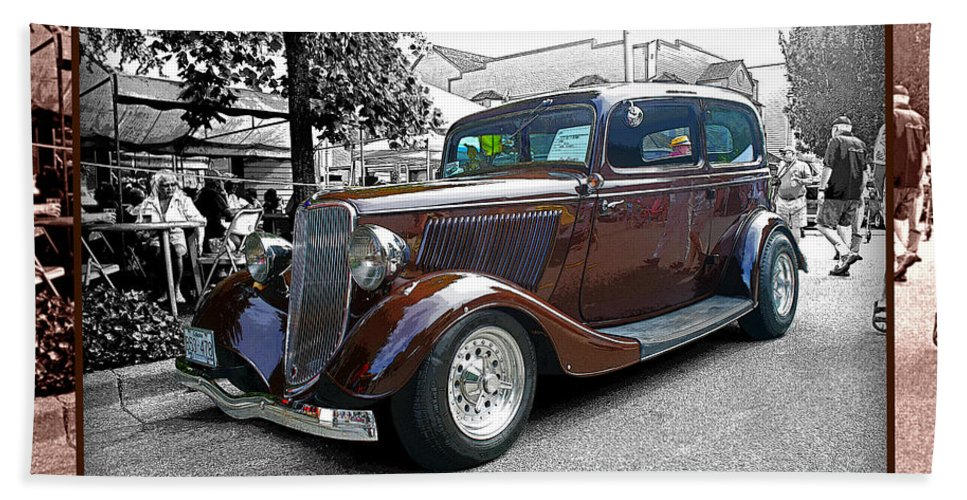 Old Cars Bath Sheet featuring the photograph Classy Brown Ford by Randy Harris