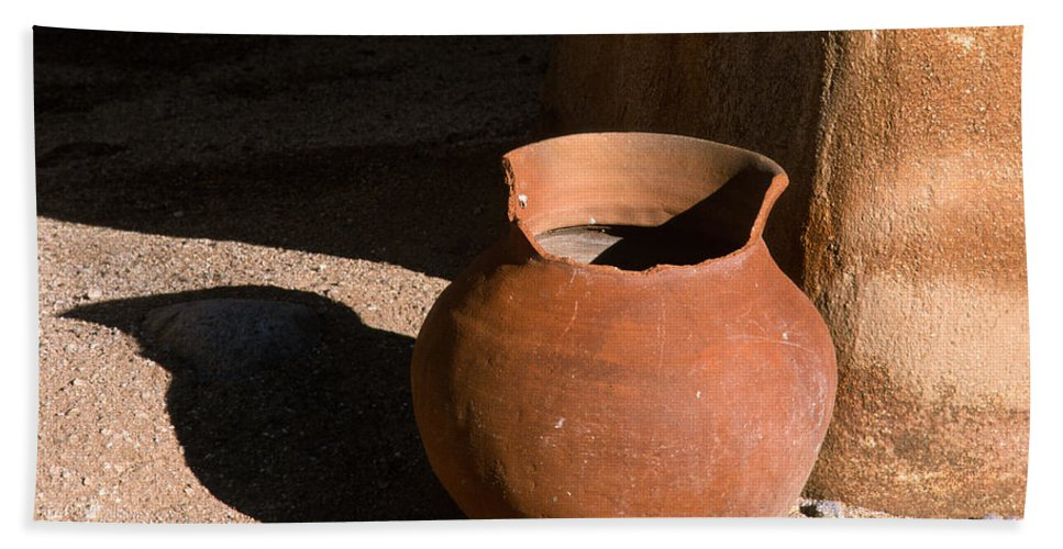 Mexican Pottery Hand Towel featuring the photograph Clay Pot And Shadow by Sandra Bronstein