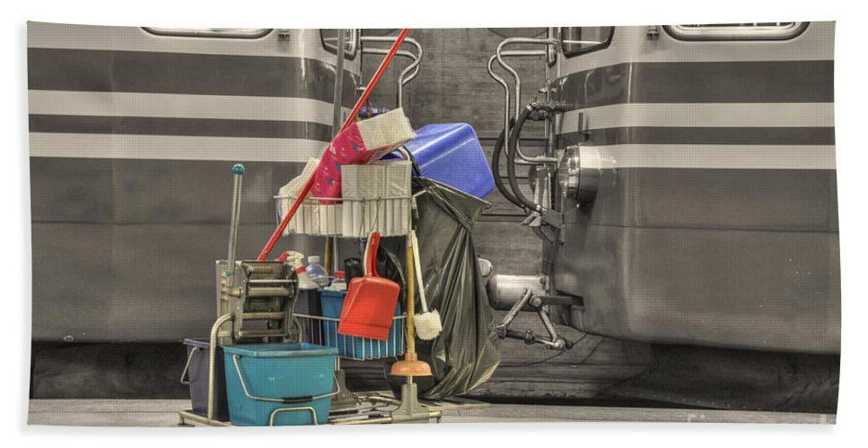 Cleaning Equipment Hand Towel featuring the photograph Cleaning Equipment by Mats Silvan