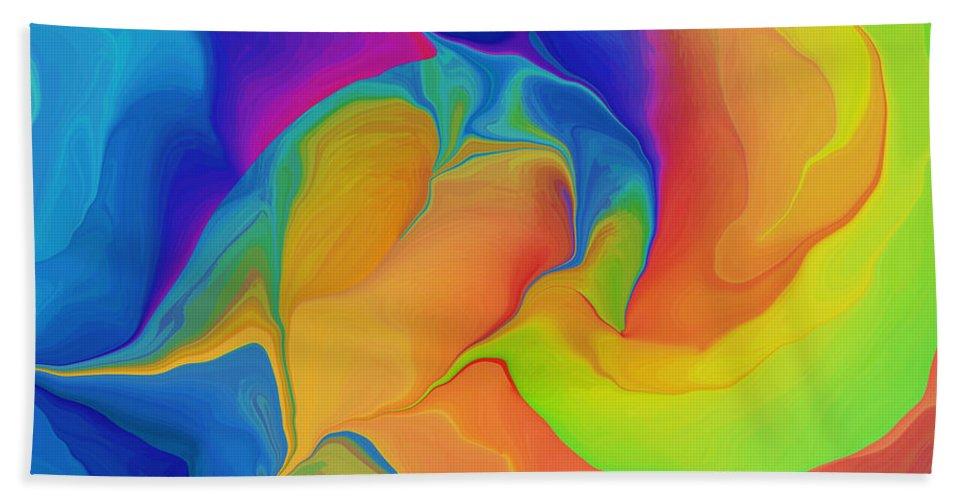 Abstract Bath Sheet featuring the digital art Cleansing The Heart by Deborah Benoit