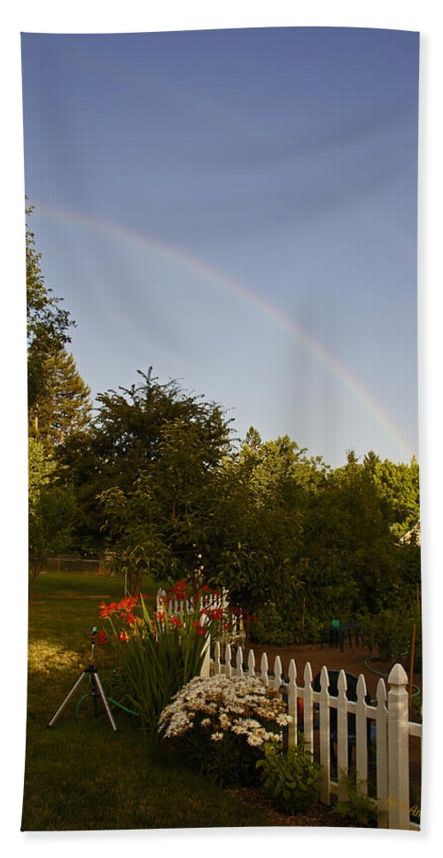 Clear Bath Sheet featuring the photograph Clear Sky Rainbow by Mick Anderson