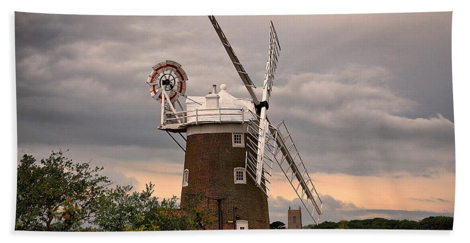Cley Windmill Hand Towel featuring the photograph Cley Windmill by Chris Thaxter