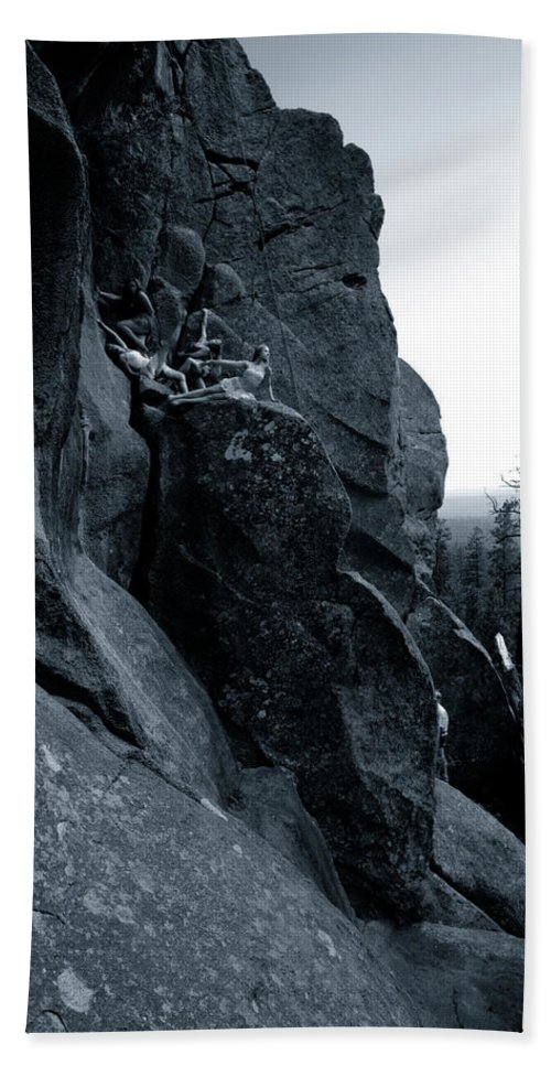 Dancers Hand Towel featuring the photograph Cliff Dancers Three Black And White by Scott Sawyer