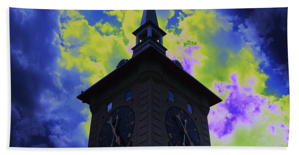 Clock Tower Bath Sheet featuring the photograph Clock Tower Night by Linda Francis