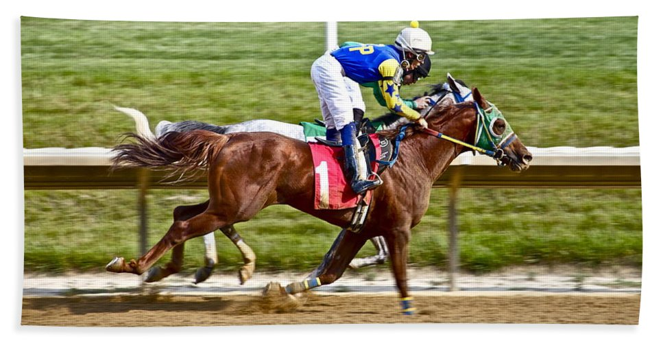 Race Track Horse Horseracing Delaware Jockeys Hand Towel featuring the photograph Close by Alice Gipson