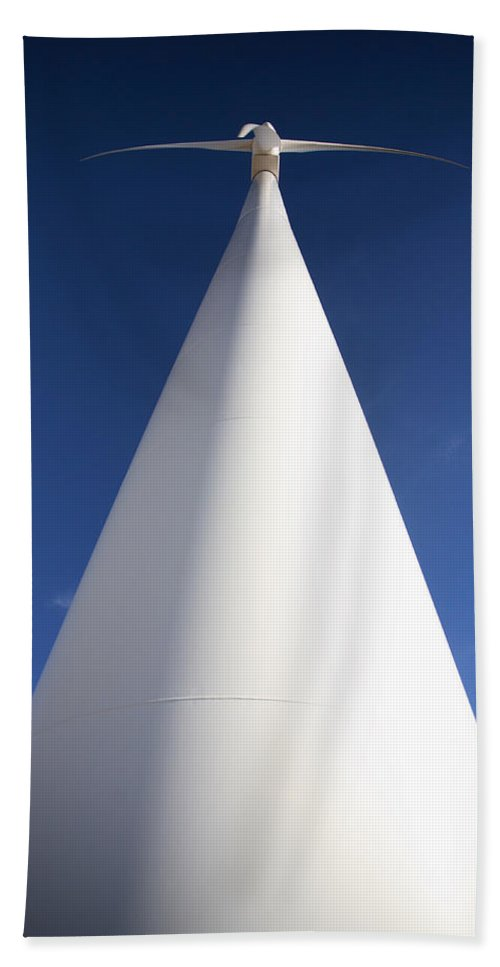 Wind Farm Bath Sheet featuring the photograph Closeup Of Windmill On An Saskatchewan Wind Farm by Mark Duffy