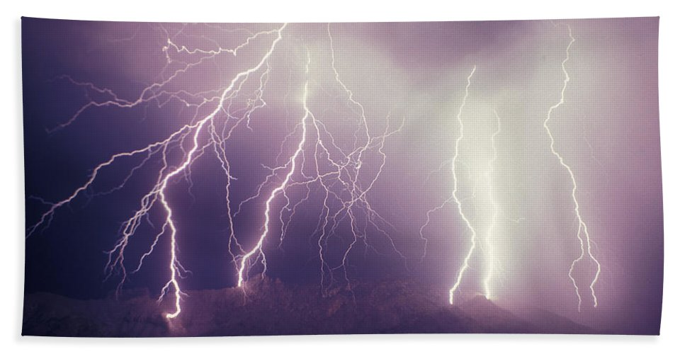 Storms Hand Towel featuring the photograph Cloud To Ground Lightning by John A Ey III and Photo Researchers