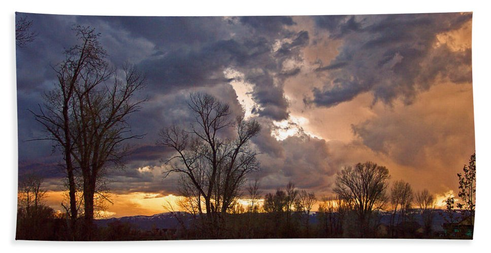 Clouds Bath Sheet featuring the photograph Clouded Sunset by Eric Tressler