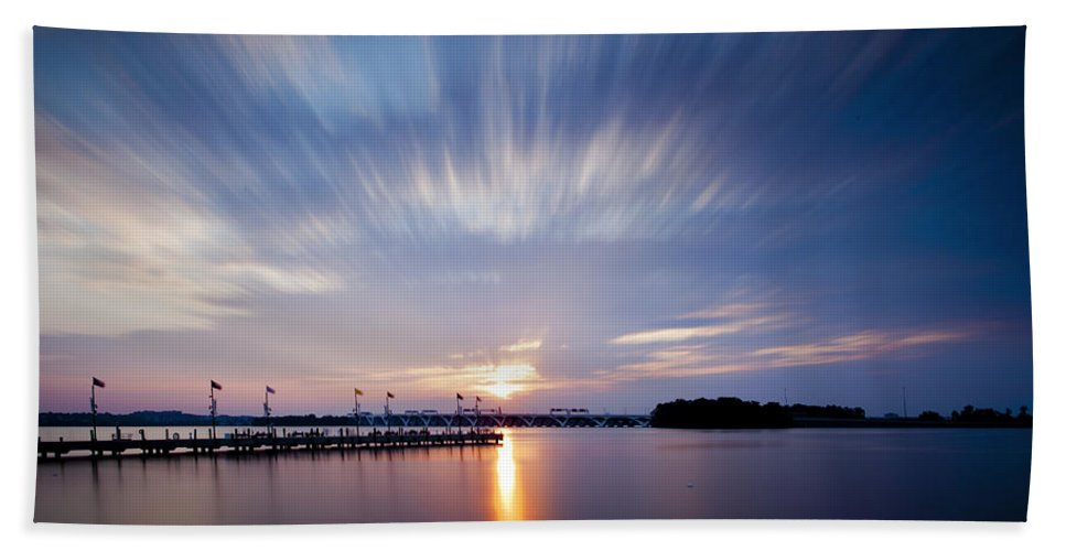 Sunset Hand Towel featuring the photograph Clouds In Motion by Edward Kreis