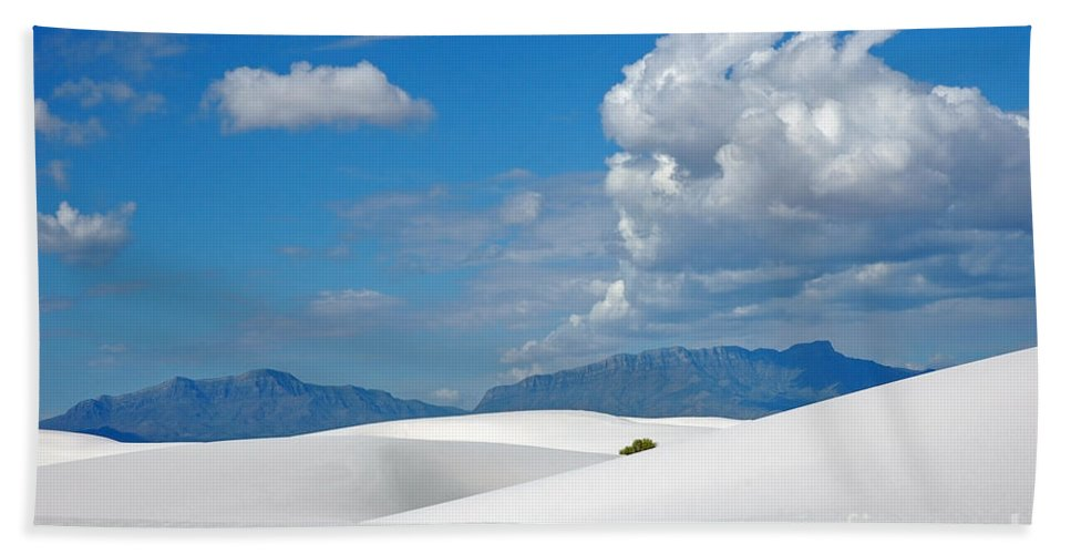 White Sands Hand Towel featuring the photograph Clouds Over The White Sands by Vivian Christopher