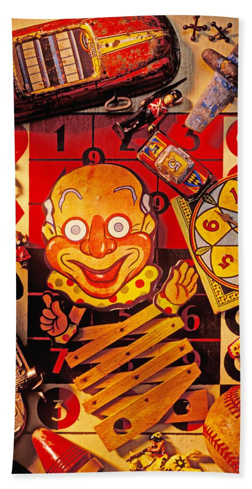 Clown Bath Sheet featuring the photograph Clown Toy And Old Playthings by Garry Gay