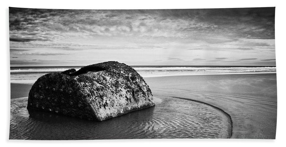 Bay Bath Sheet featuring the photograph Coastal Scene Bw by Svetlana Sewell